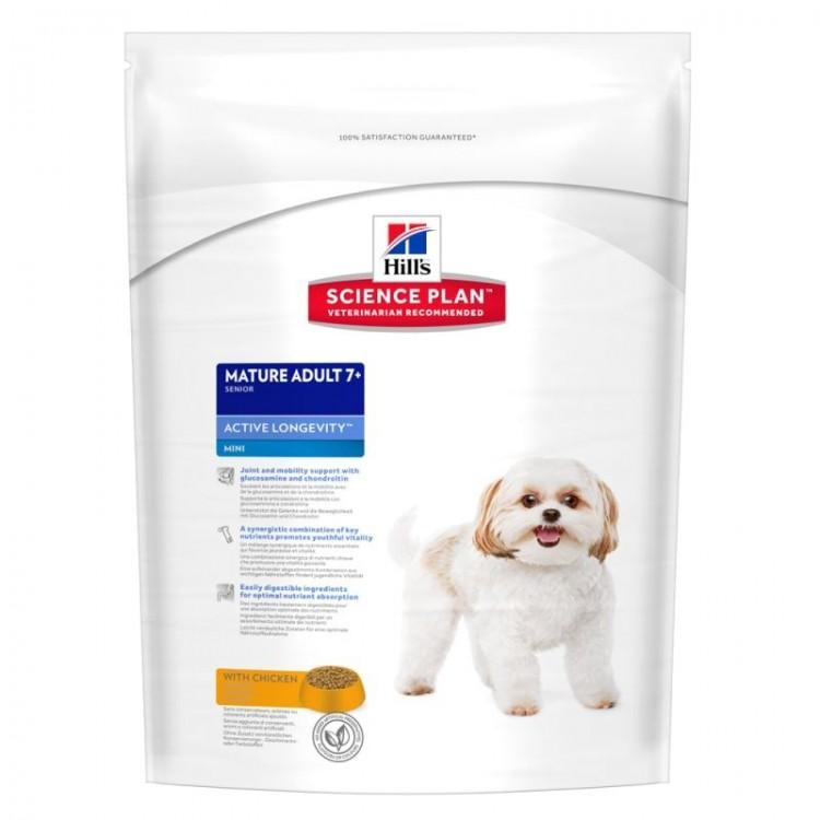 Hill's SP Mature Adult 7 Plus Active Longevity Mini hrana pentru caini cu pui 1 kg