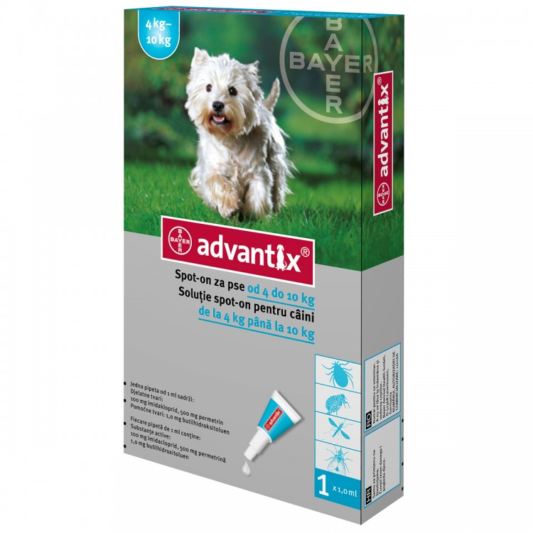 Advantix 100 | Pipeta antiparazitara Advantix caini de 4-10 kg 1 pipeta