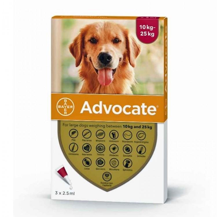 Advocate 250 Caine | Pipeta antiparazitara Advocate (10 - 25 kg) 1 cut - 3 pipete
