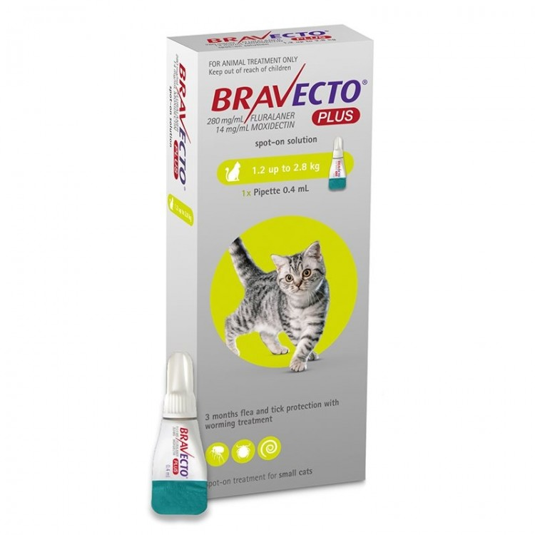 Bravecto Plus Spot On Cat 112.5 mg (1.2 - 2.8 kg), 1 pipeta