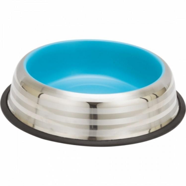 Castron din inox, Enjoy Blue&Silver Stripes, 230 ml