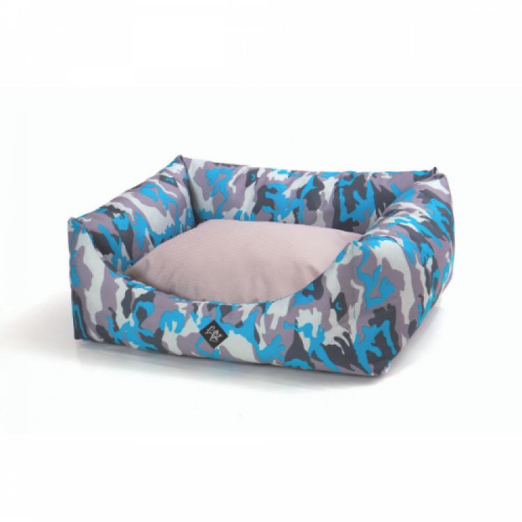 Culcus pentru caini Leopet Rody Army Blue, 60 x 70 cm