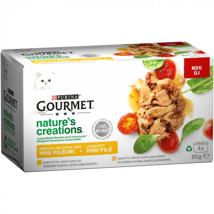 Gourmet Nature's Creations File Multipack, Pui si Curcan, 4 x 85 g