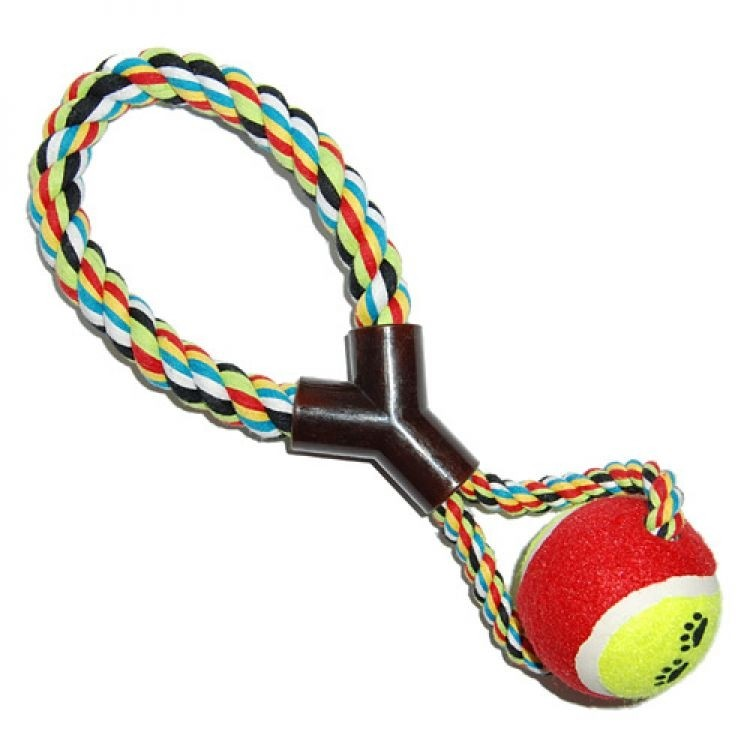 Jucarie minge bumbac cu maner pentru caini, 4Dog