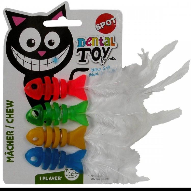 Jucarie dentitie pisica, pestisori, 4 buc 5x2 cm