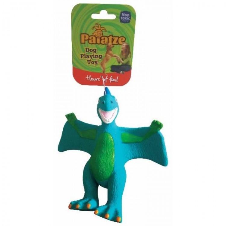 Jucarie Paiatze Dog Dinozaur Latex, albastra, 22 cm