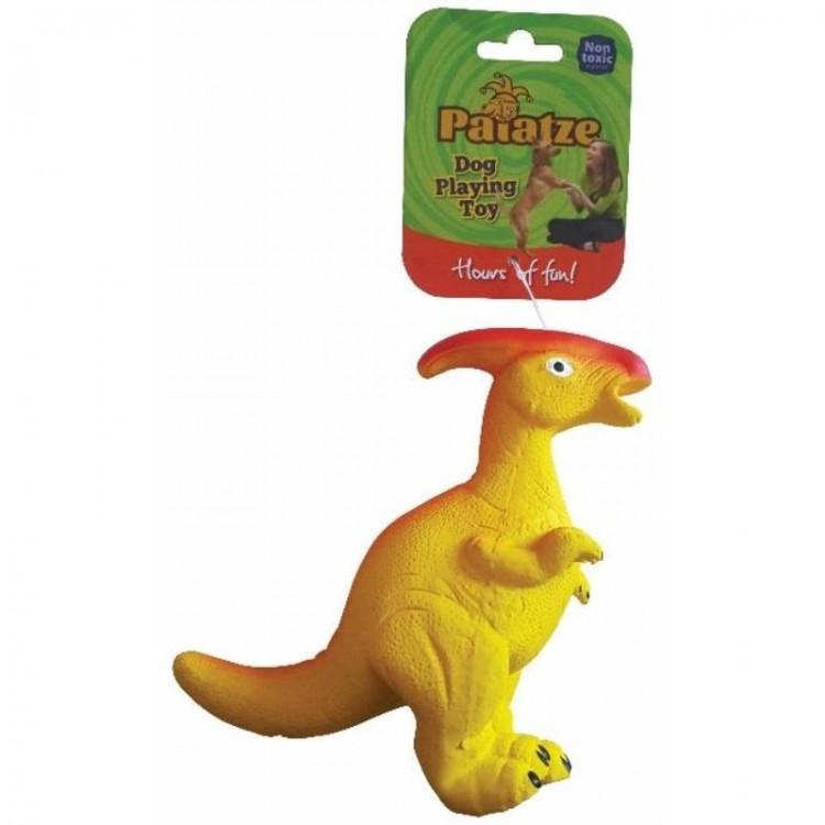 Jucarie Paiatze Dog Dinozaur Latex, galben, 22 cm