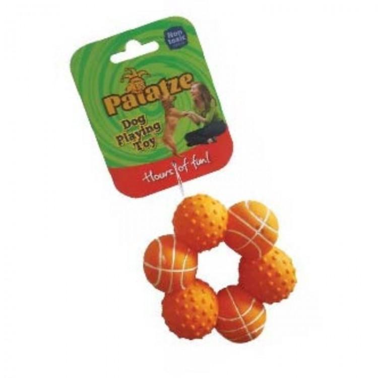 Jucarie Paiatze Dog Inel 6 mingi Latex, orange, 10 cm