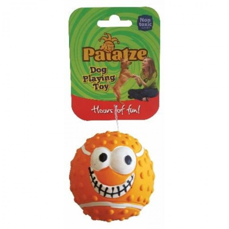 Jucarie Paiatze Dog Smile Face Latex, portocalie, 7 cm