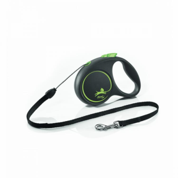Lesa caini cu snur, Flexi Design S, verde, 5 m