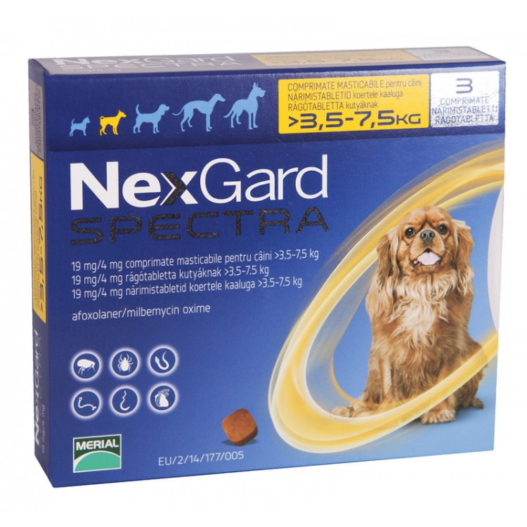 Nexgard Spectra S (3.5 - 7.5 kg), 3 comprimate
