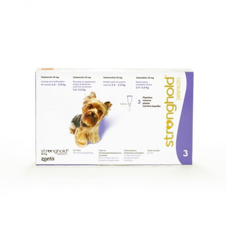 Stronghold Caine 30 mg 3 pipete - solutie antiparazitara pentru caini