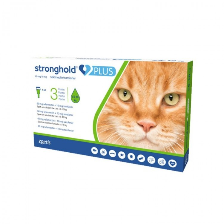 Stronghold Plus Pisica 60 mg, 10 ml (5 - 10 kg), 3 pipete