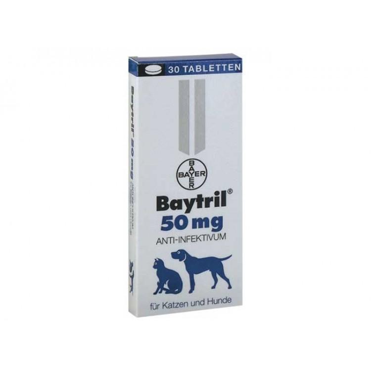 Baytril Flavoured 50 mg antibiotic pe baza de enrofloxacina pentru caini si pisici
