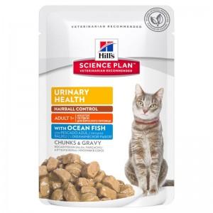 Hill's SP Adult Urinary and Hairball hrana pentru pisici cu peste oceanic 85 g (plic)