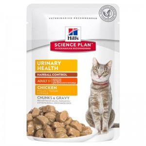 Hill's SP Adult Urinary and Hairball hrana pentru pisici cu pui 85 g (plic)