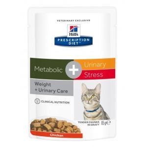 Hill's PD Metabolic + Urinary Stress hrana pentru pisici cu pui, 85 g (plic)
