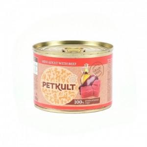 Hrana umeda pisici, Petkult Mini Adult cu vita, 185 g