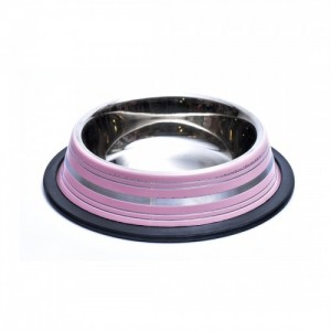 Castron antiderapant din inox, Enjoy, roz, 0.25 L