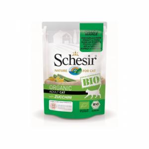 Schesir Bio For Cat, pui, porc şi zucchini, 85 g
