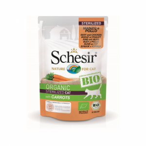 Schesir Bio For Sterilized Cat, Vita, Pui si Morcovi, 85 g