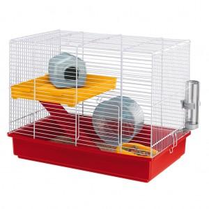 Cusca Hamster Duo Rosu / Alb, 1 etaj, 46 x 29 x 37 cm