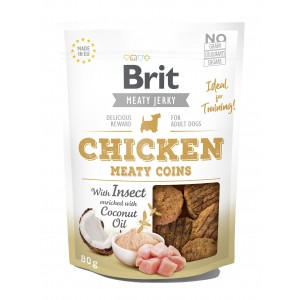 Brit Dog Jerky Chicken With Insect Meaty Coins, 80 g