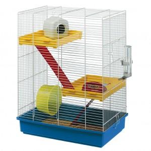Cusca Hamster Tris Albastru / Alb, 2 etaje, 46 x 29 x 58 cm
