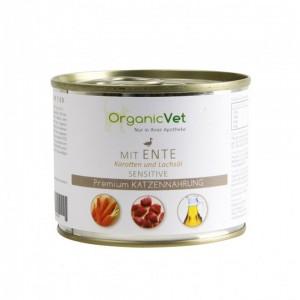 OrganicVet Feline Sensitive, rata, morcovi, ulei de somon, 200 g