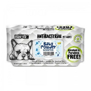 Absorbant Plus Antibacterian Pet Wipes Baby Powder, 80 bucati