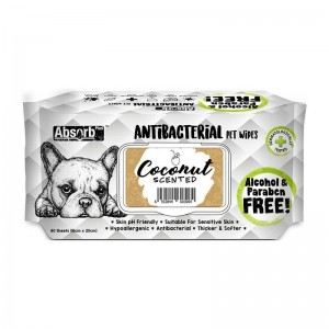 Absorbant Plus Antibacterian Pet Wipes Cocos, 80 bucati