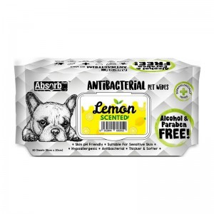 Absorbant Plus Antibacterian Pet Wipes Lemon, 80 bucati