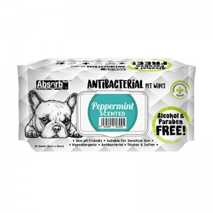 Absorbant Plus Antibacterian Pet Wipes Peppermint, 80 bucati