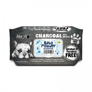 Absorbant Plus Charcoal Pet Wipes Baby Powder, 80 bucati