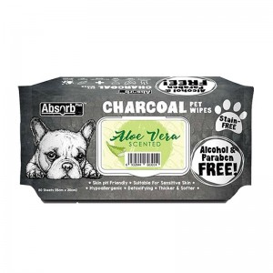 Absorbant Plus Charcoal Pet Wipes Aloe Vera, 80 bucati