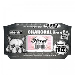 Absorbant Plus Charcoal Pet Wipes Floral, 80 bucati