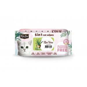 Servetele umede pentru pisici, Kit Cat 5in1 Aloe Vera, 80 buc