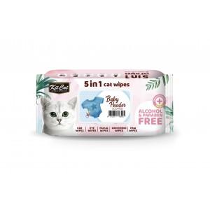 Servetele umede pentru pisici, Kit Cat 5in1 Baby Powder, 80 buc