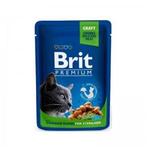 Brit Premium Sterilised Cat plic cu carne de pui, 100 g