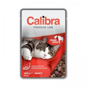 Calibra Cat Pouch Premium Adult Beef & Chicken, 100 g