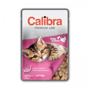 Calibra Cat Pouch Premium Kitten Turkey & Chicken, 100 g