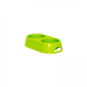 Castron dublu plastic caine, verde, 2 x 0.23 l