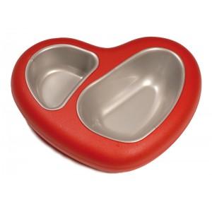 Castron plastic dublu, forma inima cu tavite detasabile