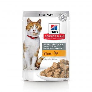 Hill's SP Sterilised Cat Young Adult hrana pentru pisici cu pui, 85 g (plic)