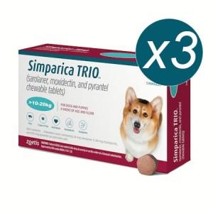 Simparica Trio Caini (10.1 - 20 kg), 3 x comprimate masticabile