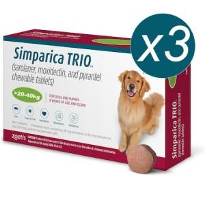 Simparica Trio Caini (20.1 - 40 kg), 3 x comprimate masticabile