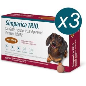 Simparica Trio Caini (5.1 - 10 kg), 3 x comprimate masticabile