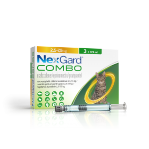NexGard Combo solutie spot-on pentru pisici de 2.5-7.5 kg