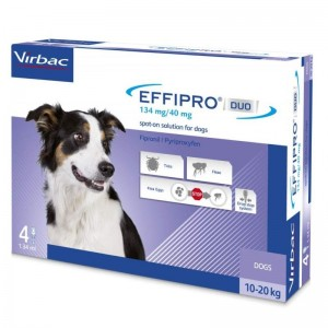 Effipro Duo Dog M 134 mg (10 - 20 kg), 4 pipete