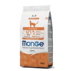Monge Natural Monoprotein, Pisici Sterilizate, rata, 1.5 kg